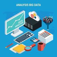 ilustração em vetor conceito isométrico de análise de big data