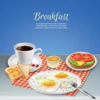 ilustração vetorial conjunto realista de café da manhã vetor