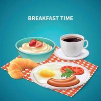ilustração vetorial de fundo realista de café da manhã vetor