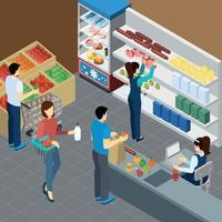 ilustração em vetor composição isométrica de supermercado