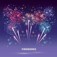 fogos de artifício mostram composição de fundo vetor