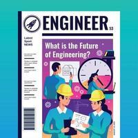 ilustração vetorial de capa de revista engenheiro vetor