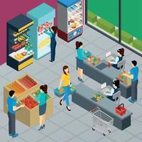ilustração em vetor cartaz isométrico de supermercado