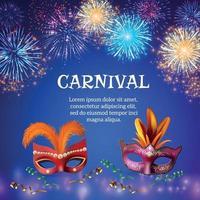 carnaval máscaras de fundo de fogos de artifício vetor