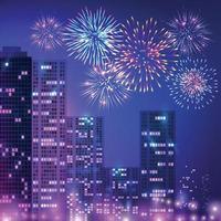 composição de fogos de artifício de cidade grande vetor