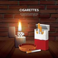 ilustração em vetor pôster realista de tabaco