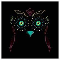 vetor livre colorido coruja linha arte