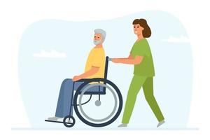 um voluntário caminha com um homem de cabelos grisalhos em uma cadeira de rodas vetor