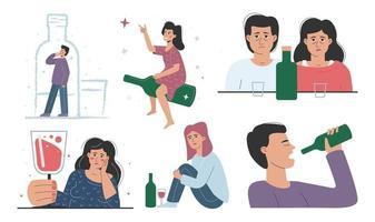 bêbados e abuso de álcool vetor