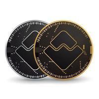 ondas de criptomoeda ouro e prata vetor