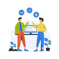 marketing na internet promove e analisa anúncios em ilustração vetorial de mídia social vetor