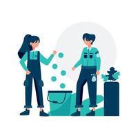 o serviço de limpeza limpa e mantém a ilustração vetorial do quarto vetor