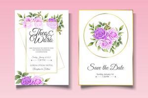 lindo cartão de convite de casamento floral vetor