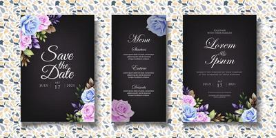 modelo de convite de casamento floral elegante vetor