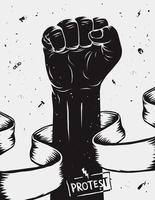punho erguido em protesto vetor
