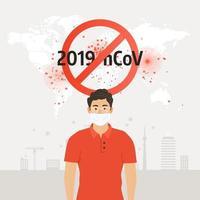 ícone de coronavírus com sinal vermelho de proibição vetor
