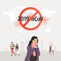ícone de coronavírus com sinal de proibição vermelho vetor