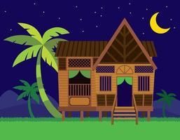 bela casa de aldeia tradicional malaia rumah kampung melayu com coqueiros no fundo da cena noturna vetor