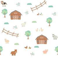 Celeiro marrom bonito árvores verdes cerca fazenda animais dos desenhos animados padrão sem emenda no fundo branco vetor