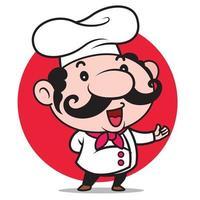 Desenho animado fofo chef italiano com bigode grande apresenta cardápio para sua empresa de alimentos vetor