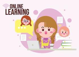 criança fofa aprendendo on-line com ilustração de desenho animado computador laptop vetor