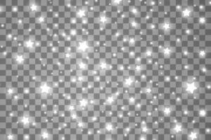 as faíscas de poeira e estrelas brancas brilham com luz especial vetor