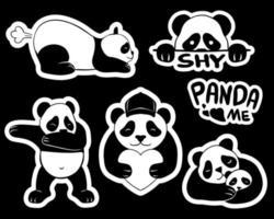 ilustração em vetor adesivos panda fofos