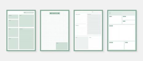 conjunto de modelo de planejador moderno conjunto de planejador e lista de tarefas mensal, semanal, diário, planejador, ilustração vetorial vetor