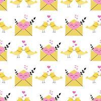 pássaros do amor e um envelope aberto com um padrão sem emenda de vetor de coração em um design de papel de parede de fundo branco para papel de embalagem e impressão de tecido