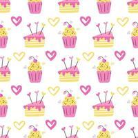 um muffin e um pedaço de bolo em flores rosa e amarelas com corações em um fundo branco vetor padrão sem emenda papel de parede design de papel de embalagem e impressão em tecido