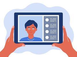 tablet na mão bate-papo on-line o conceito de ilustração vetorial de comunicação virtual em um estilo simples, isolado em um fundo branco vetor