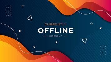 atualmente offline twitch banner vector template fundo líquido com design moderno de cores