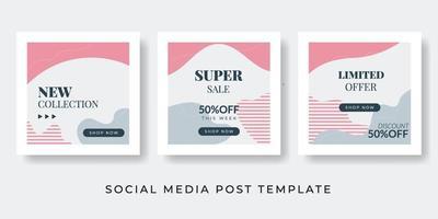 histórias da moda de mídia social e conjunto de vetores pós-criativos