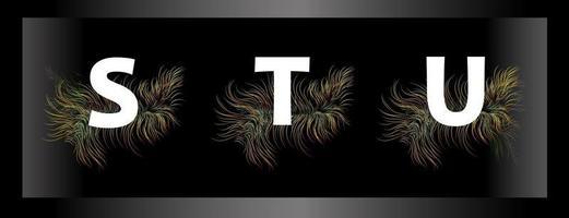 letras do alfabeto em um fundo preto com penas de pássaros exóticos vetor