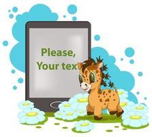 imagem vetorial de uma girafa com um livro e um campo para sua inscrição em estilo cartoon vetor