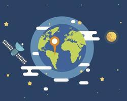 atmosfera do espaço sideral, existem satélites com pontos de ícones na terra vetor
