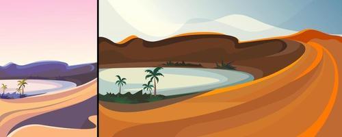lindo oásis no deserto em orientação vertical e horizontal vetor