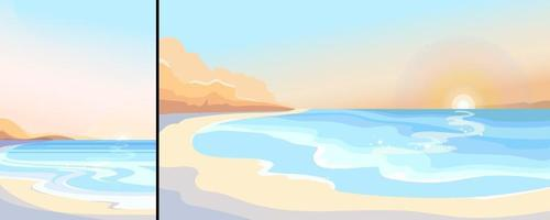 praia ao amanhecer em orientação vertical e horizontal vetor