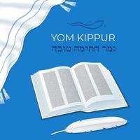 feriado judaico yom kipur dia da expiação livro de símbolos tradicionais e pena pena caneta chifre oração xale talit uma boa selagem final em hebraico vetor