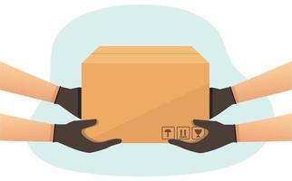 entregador de mensageiro com uma caixa de entrega de mercadorias vetor