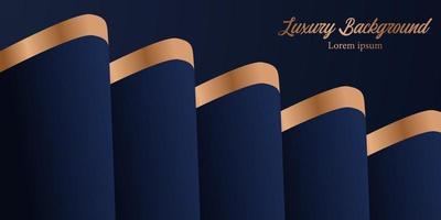 fundo azul escuro elegante luxo elemento real com pano de cortina ondulada com decoração dourada vetor