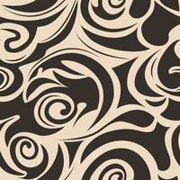 padrão sem emenda de espirais e arabescos de preto no padrão marinho floral de onda marrom vetor