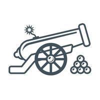antigo canhão militar com ilustração vetorial plana de pavio aceso vetor