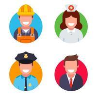Ilustração em vetor plana ícones de pessoas de diferentes profissões