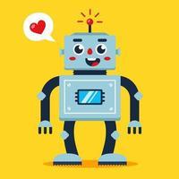 Robô fofo com coração adorável, ilustração em vetor plana android