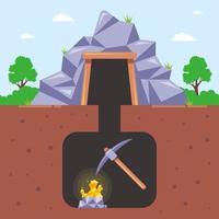 mineração de ouro em uma ilustração em vetor plana subterrânea