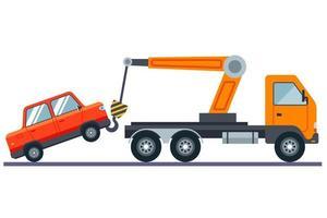 caminhão rebocando um carro em uma ilustração vetorial plana de fundo branco vetor