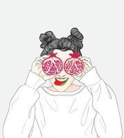 garota segurando uma fruta de romã vetor