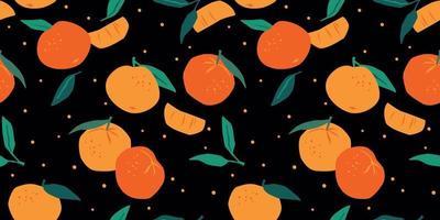 padrão sem emenda de vetor com mandarinas na moda texturas desenhadas à mão design abstrato moderno