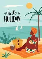 ilustração em vetor de mulher em traje de banho na praia tropical. viagens de férias de férias de verão